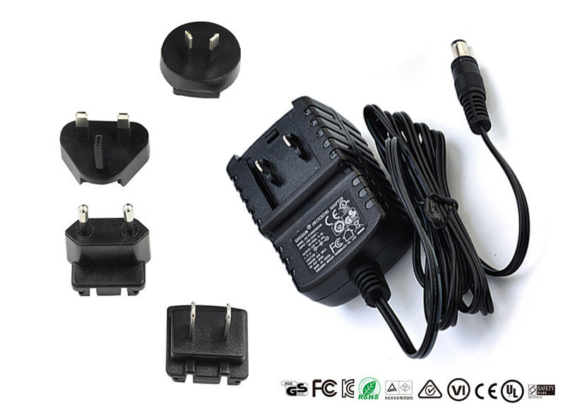 AC DC Wall Mount Interchangeable Plug Power Adapter Input 50hz / 60hz 12V 0.5A